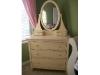 Antiqued white dresser with mirror