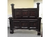 Distressed black king size bed