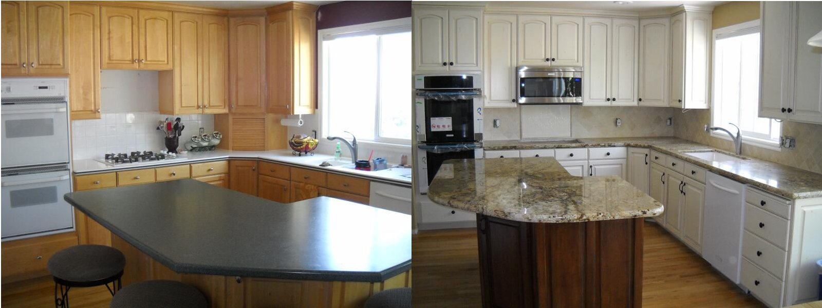 Merveilleux Refinished Cabinets Before And After   Maple Cabinets
