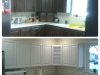 Two-toned refinished oak cabinets