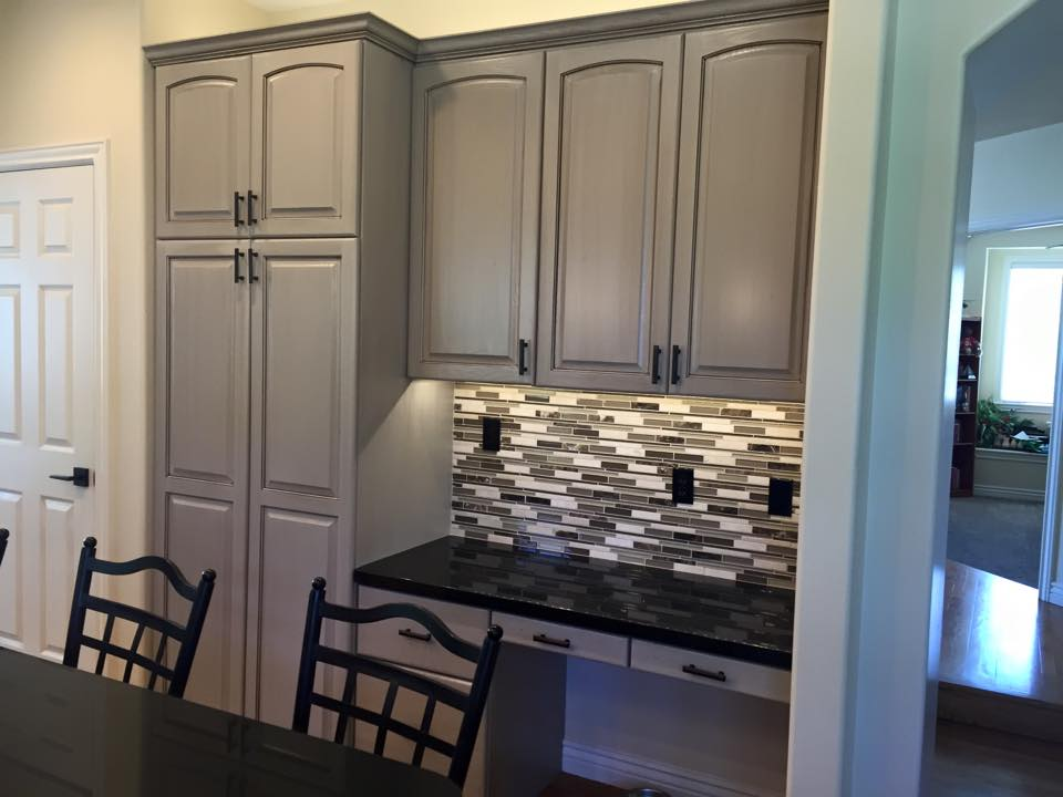 Oak Cabinets Painted Amazing Gray With Van Dyke Brown Glaze