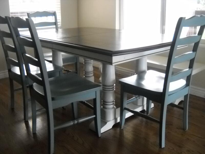Pioneer Blue Chairs With Two Toned Table Part 59