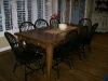 Black antiqued chairs with brown table