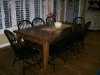 Kitchen set black antiqued chairs and walnut stain table