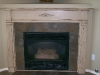 Oak fire mantel with antique white and vandyke brown glaze