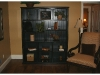 Black bookcase with beadboard