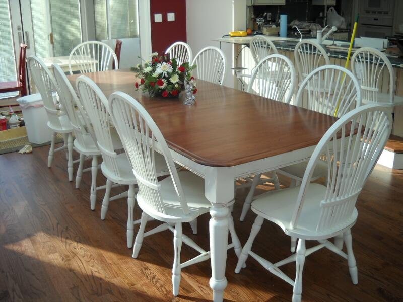 Oak Dining Set Two Tone White